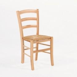 Chaise rustique en bois et paille Brocéliande