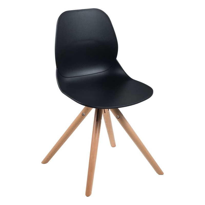 Chaise polypropylène et bois Victoire