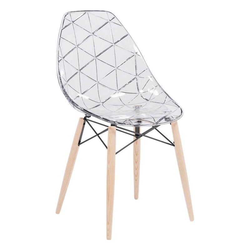 Chaise structure en bois, assise plexi Prisma