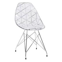 Chaise structure métal, assise plexi Prisma