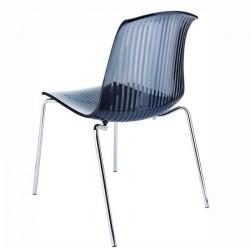 Chaise structure métallique assise plexi transparent