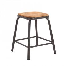 Tabouret bas industriel en métal assise bois - Matis